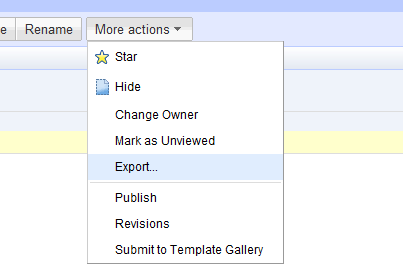 export tool in google docs