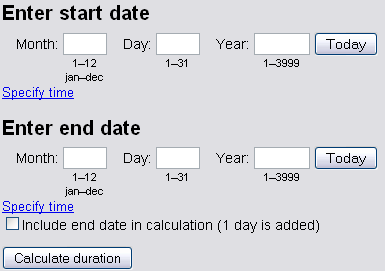 Online date calculation