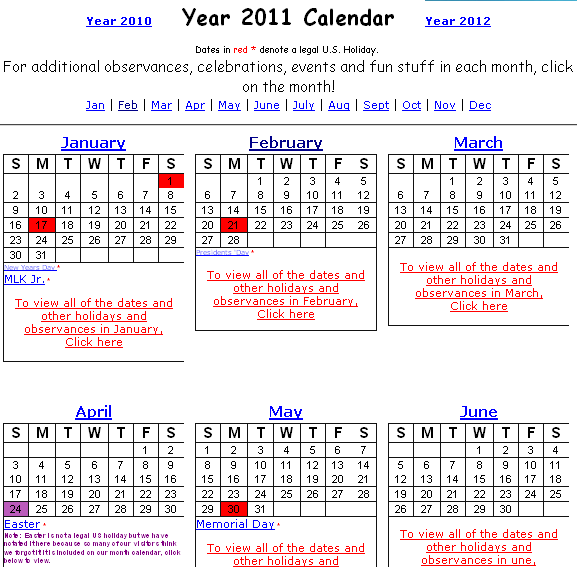The site has typical link for each calendar month to view all the dates and